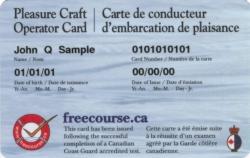 A pleasure craft operator card